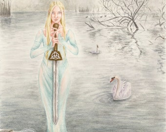 ORIGINAL-Lady of the Lake watercolour fantasy painting by Deanna Bach