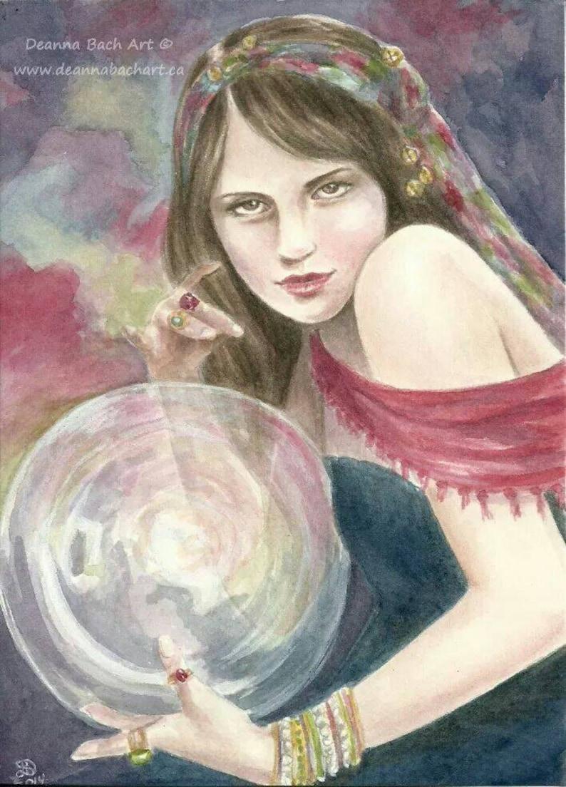 The Seer fantasy fairy gothic art print by Deanna Bach Art image 0