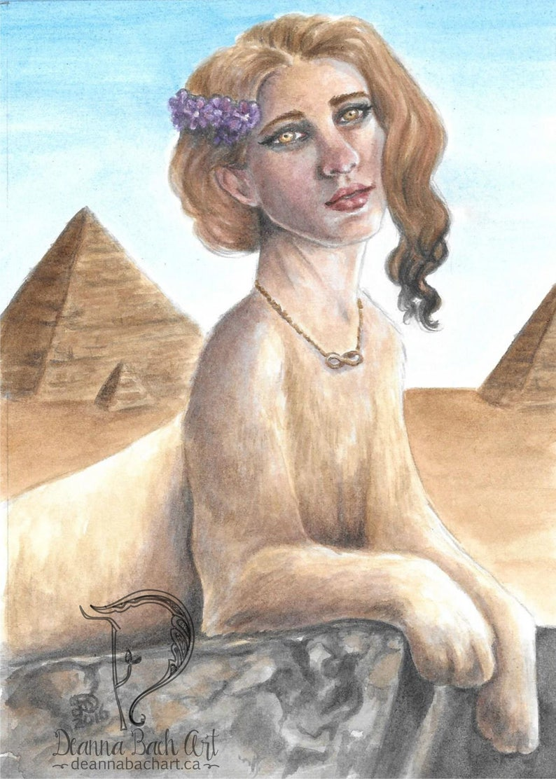 Sphinx Strength  fantasy fairy gothic art print by Deanna image 0