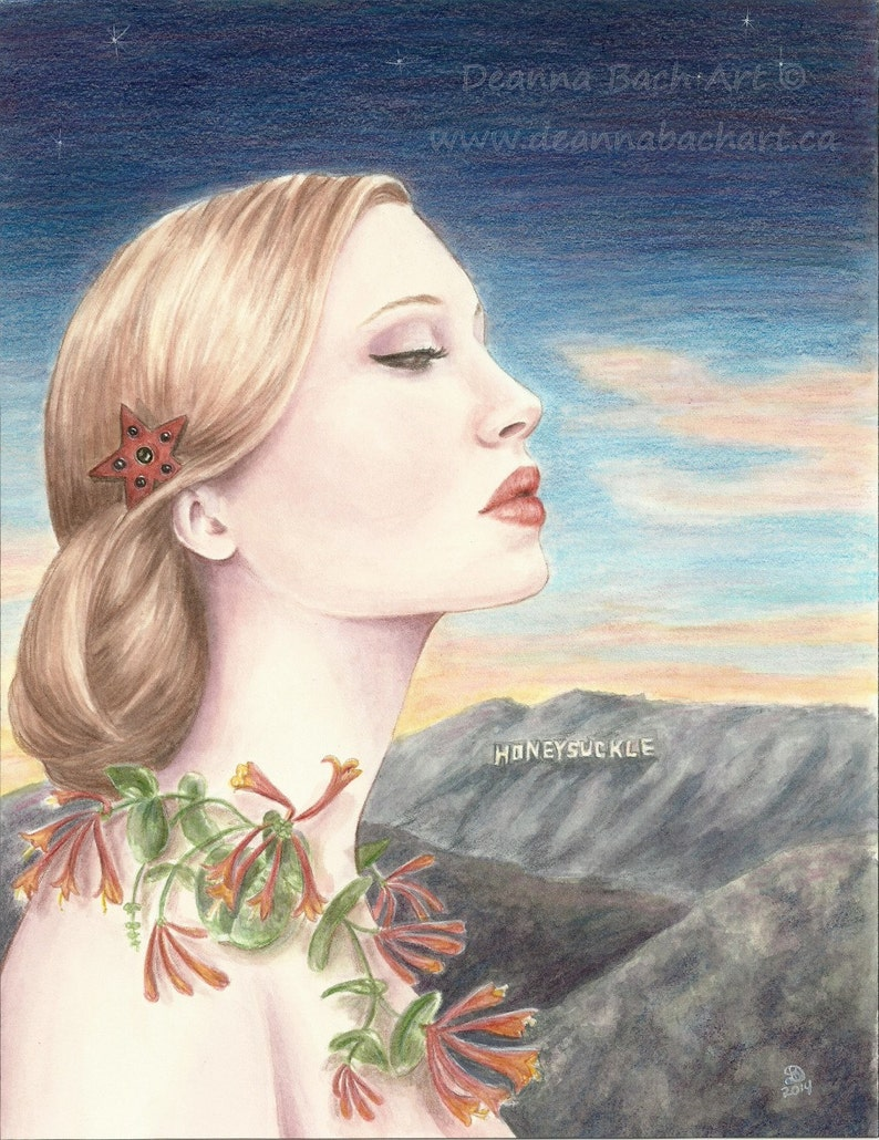 Honeysuckle  fantasy fairy gothic art by Deanna Bach Art image 1