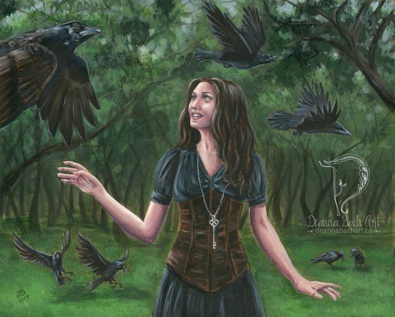 The 7 Ravens  fantasy fairy gothic art print by Deanna Bach image 0