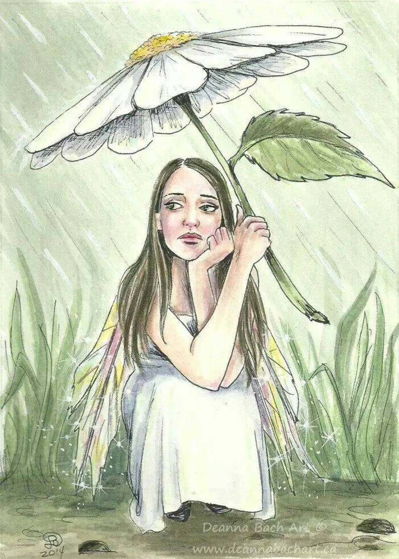 Waiting out the Rain  fairy fantasy gothic art by Deanna Bach image 0