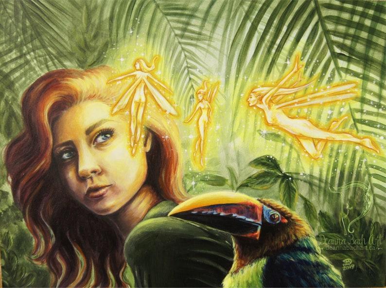Encounter  fantasy fairy gothic art print by Deanna Bach image 0
