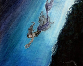 ORIGINAL -Swimming Home watercolour painting by fantasy artist Deanna Bach