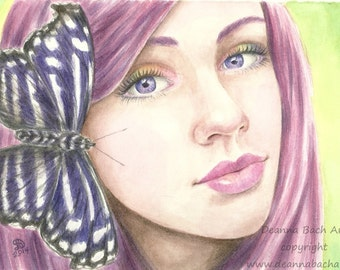 The Butterfly Painting - fantasy fairy gothic art by Deanna Bach