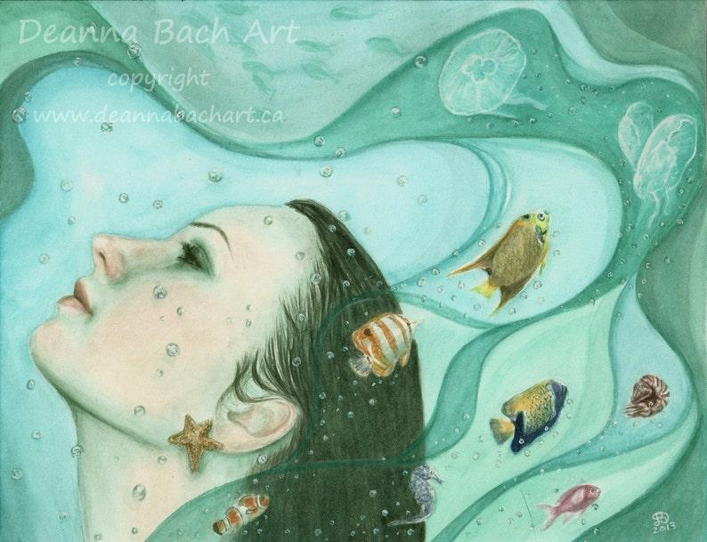 Fathoms Below  fairy fantasy gothic art by Deanna Bach image 0
