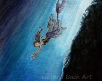 Swimming Home - fairy fantasy gothic art by Deanna Bach