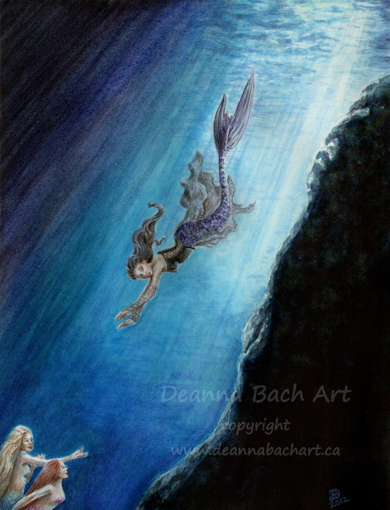 Swimming Home  fairy fantasy gothic art by Deanna Bach image 0