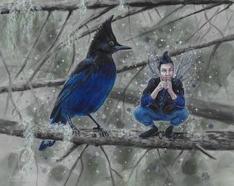 Kindreds - Steller's Jay - fantasy fairy gothic art print by Deanna Bach