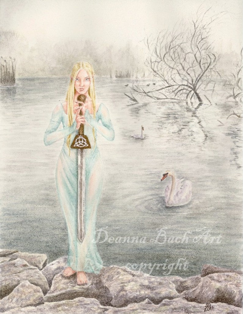 Lady of the Lake  fairy fantasy gothic art by Deanna Bach image 0