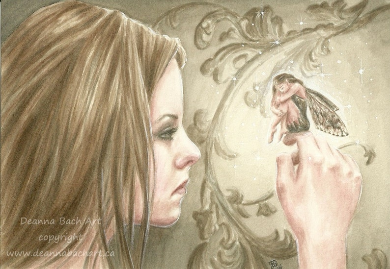 Connection fantasy fairy gothic art print by Deanna Bach Art image 0