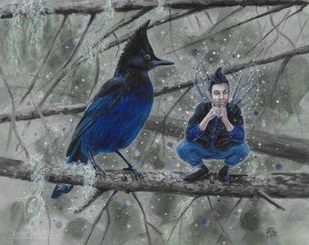 """ORIGINAL - """"Kindreds - Steller's Jay"""" 8.5 x 11 acrylic painting by Deanna Bach"""
