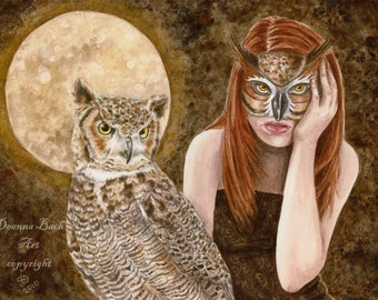 Kindreds - Owl (Midnight Masquerade) - fairy fantasy gothic art print by Deanna Bach