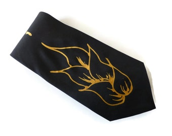 BLACK & GOLD FIRE Hand Painted Pure Silk Tie by Julie Riisnaes