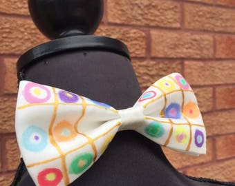 Kandinsky Inspired Hand Painted Silk Bow Tie by Julie Riisnaes