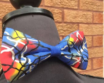 Blue Scribble Hand Painted Bow Tie by Julie Riisnaes