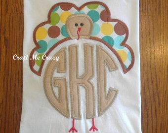 Circle Monogrammed Turkey  - Personalized Appliqued Embroidered Top - Thanksgiving, Fall