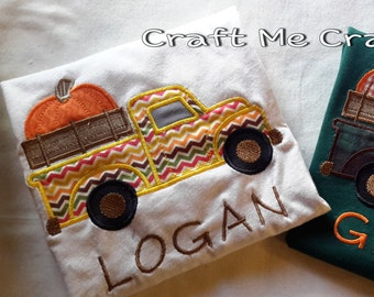 Pumpkin Truck  - Personalized Appliqued Embroidered Top - Thanksgiving, Fall, Halloween