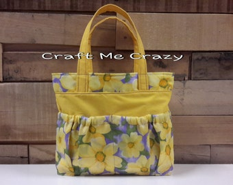 Daisy Garden Girls Tote - Yellow, Purple Floral Print
