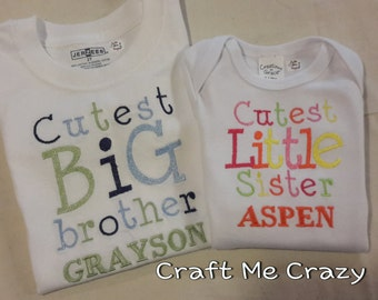 Cutest Sibling - Embroidered Personalized Shirt