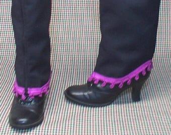 Costume  Boot Spats zipper black cotton hot pink trim Steampunk  cosplay LARP  leg warmers Geechlark r80