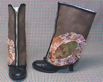 Steampunk Boot Spats zipper Brown Vinyl Costume cosplay LARP  leg warmers Geechlark r16