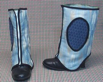 Blue Spats Costume Boot  Steampunk  cosplay LARP zipper  upholstery fabric   leg warmers Geechlark r24