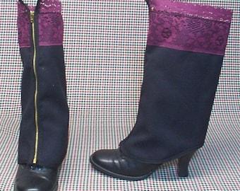 Steampunk Spats Costume Boot  black cotton burgundy lace cosplay LARP zipper  leg warmers Geechlark r74