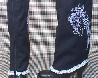 Costume  Boot Spats zipper black cotton pink white embroidery lace Steampunk  cosplay LARP  leg warmers Geechlark r79