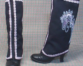 Costume  Boot Spats zipper black cotton pink white embroidery lace Steampunk  cosplay LARP  leg warmers Geechlark r76