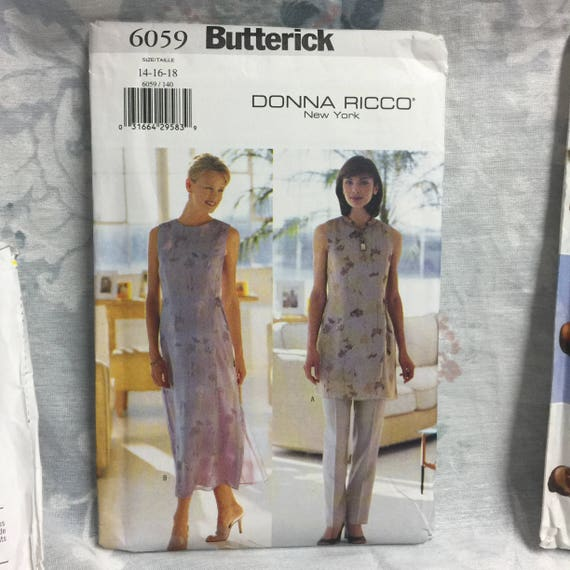 Butterick 6059 Donna Ricco Easy Tunic Dress Pants Lagenlook Etsy
