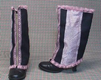 Steampunk Spats Costume Boot  black cotton pink lace    cosplay LARP zipper  leg warmers Geechlark r71