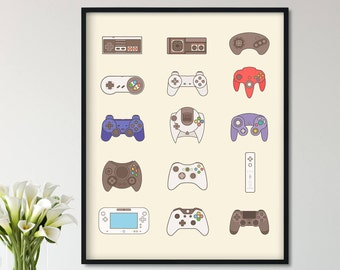 Video Game Controller, Video Game Poster, Video Game Decor, Game Room Decor, Video Game Art Gift, Video Game Print, Video Game Poster
