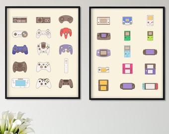 Set of 2 Video Game Handheld Wall Art Print, Video Game Controller, Console Gaming Wall Art, Gaming Print Gaming Room Decor, Video Game
