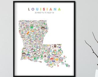 Louisiana video game Map, City Wall Art Print, Louisiana Neighborhood Map, Louisiana Gift, Louisiana  Poster, Louisiana Art Print