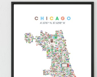 CHICAGO City map made with Video Game Controllers,  Chicago Neighborhood Map, Chicago Poster, Chicago Art Print City Wall Art Print