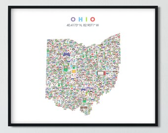 Ohio video game Map, City Wall Art Print, Ohio Neighborhood Map, Ohio Gift, Ohio Poster, California Art Print