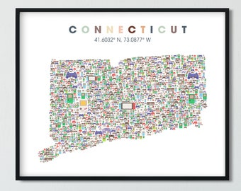 CONNECTICUT Video Game Gift, Connecticut Gamer Map, Video Game Decor,  Nerd Gifts, Game Room  Controller Art Print