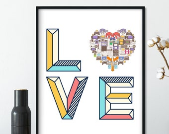 LOVE Video game poster, Video Gamer Art Print, Game Controllers Poster, Man Cave Decor, Video Game Decor Art, Gamer Birthday Gift Decor