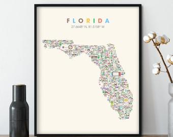 FLORIDA video game Map, City Wall Art Print, Florida Neighborhood Map, Florida Gift, Florida Poster, Florida Art Print