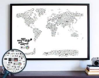 Video Game Decor, Game Controller, Video Game Poster Gift, Nintendo Man Cave World Map, Dorm Room Wall Art Decor, Video Game Controller