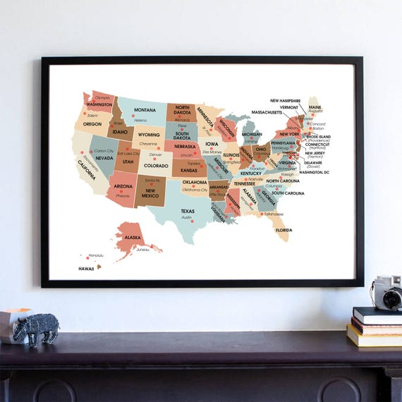 Housewarming Gift, United States Map, USA State Capitals Classroom Wall Art  Print, Travel Map Poster, Can you Name The Capital Cities,
