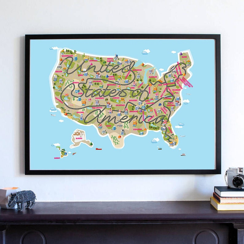 Cute Usa Map.Cute Kids Room Decor Usa Map Nursery Map United States Of Etsy