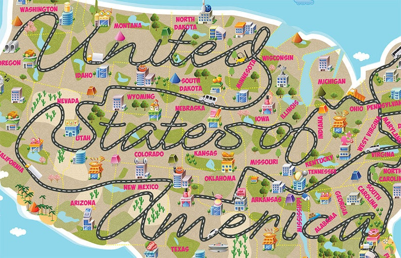 Cute Kids Room Decor Usa Map Nursery Map United States Of Etsy - Cute-us-map