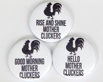 """Mother Cluckers Adult Humor Kitchen Magnet, 2.25"""" Meme Pin, Locker Decor, Pin Button, Rude Humor Office Gag Gift Dry Erase Board Magnet Set"""