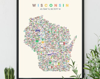 WISCONSIN Video Game Decor, Game Room  Controller Art Print, Video Game Decor