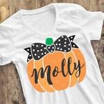Pumpkin SVG, Pumpkin with Bow SVG, girl Halloween shirt, girl fall iron-on transfer, cut file, NOT PERSONALiZED