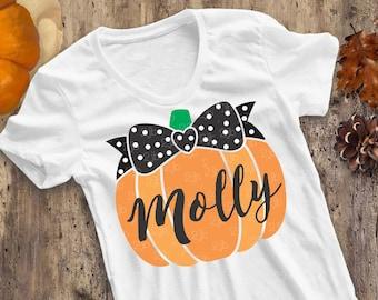 Pumpkin SVG, Pumpkin with Bow SVG, girl Halloween shirt design, girl fall shirt image, pumpkin digital image, cut file, NOT PERSONALiZED