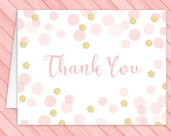 Pink and Gold Thank You Card  - Folded Thank You Card - Baby Girl Shower - Pink Gold Glitter Confetti - PRiNTABLE, INSTANT DOWNLOAD