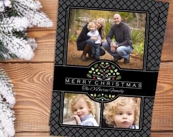 Floral Photo Christmas Card, Christmas Wreath Photo Card, Printable Digital Christmas Photo Card, Photo Collage Christmas Card, Multi-photo